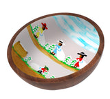 Clementine Hunter Mango Wood Large Bowl - Cotton Picking