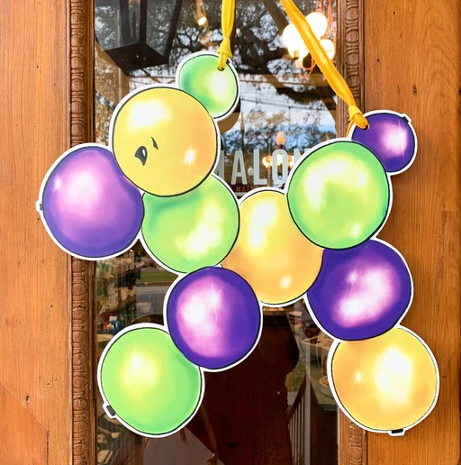 Door Hanger - Mardi Gras Beads