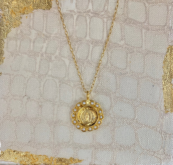 Necklace - Mary Medal with Pearls
