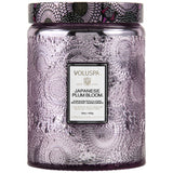 Voluspa Large Embossed Glass Jar 16 oz candle - Japanese Plum Bloom