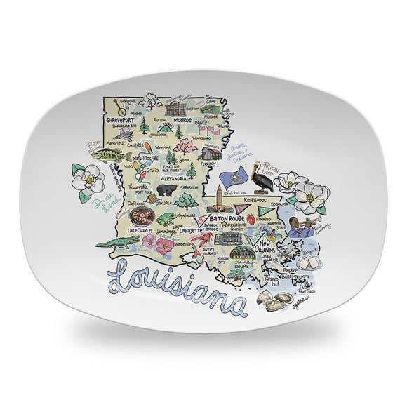 Louisiana Map Platter