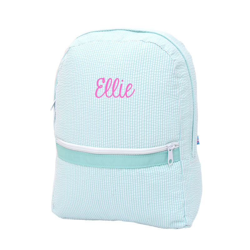 Mint Seersucker Backpack - Mint