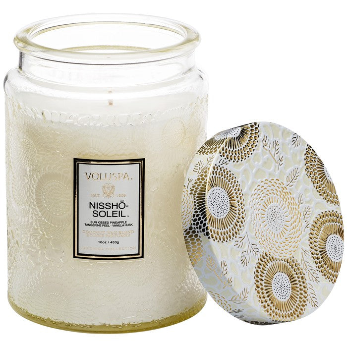 Voluspa Large Embossed Glass Jar 16 oz candle - Nissho-Soleil
