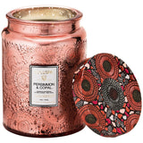 Voluspa Large Embossed Glass Jar 16 oz candle - Persimmon & Copal