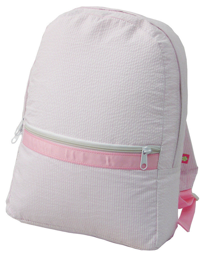 Mint Seersucker Backpack - Pink