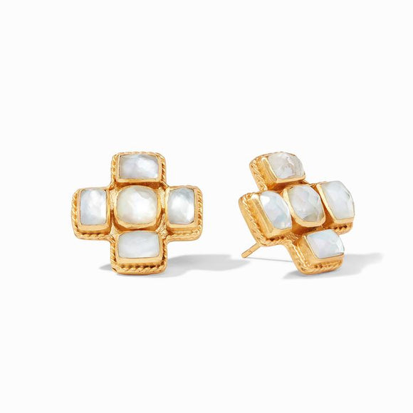 Julie Vos Earrings  - Savoy (Iridescent Clear Crystal)