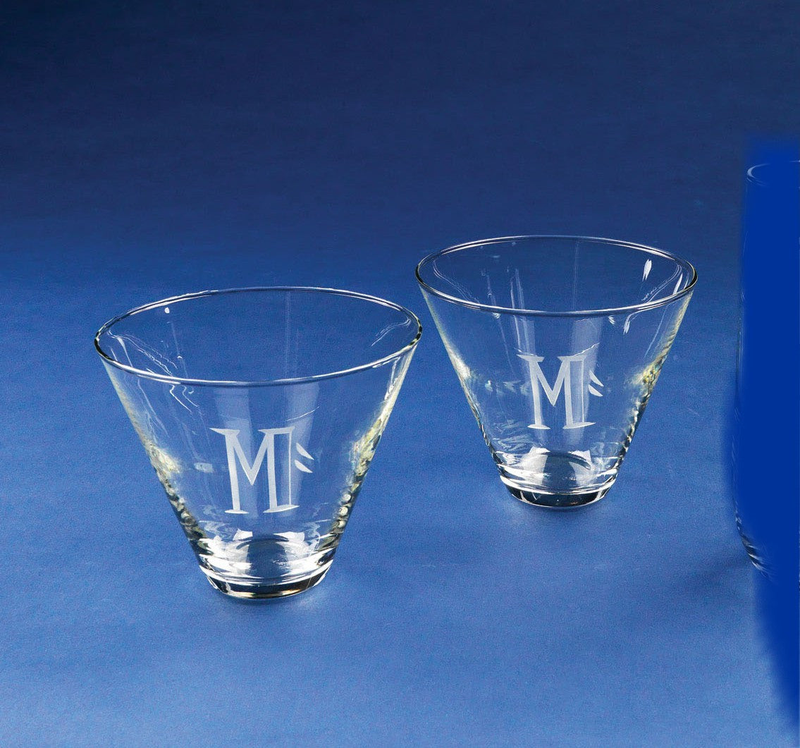 Personalized Stemless Martini Glasses - set of 2