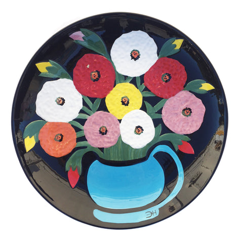 Clementine Hunter Ceramics - Zinnias Looking at You