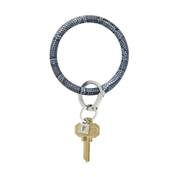 Big O Key Ring Leather - Blue Snakeskin