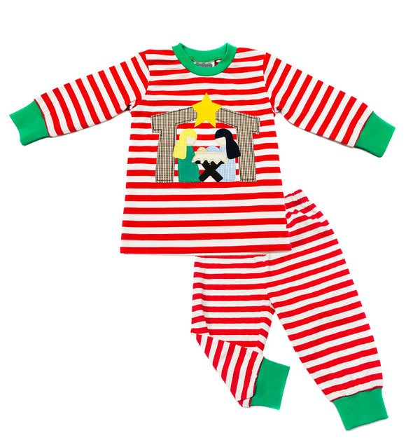 Christmas pajamas - Holy Family Applique