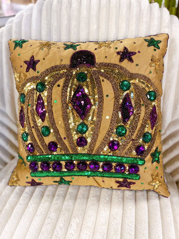 Mardi Gras Pillow - King Crown