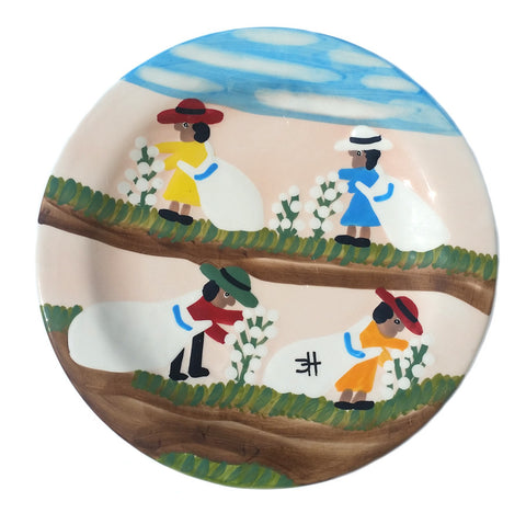 Clementine Hunter Dinner Plate - Cotton Picking