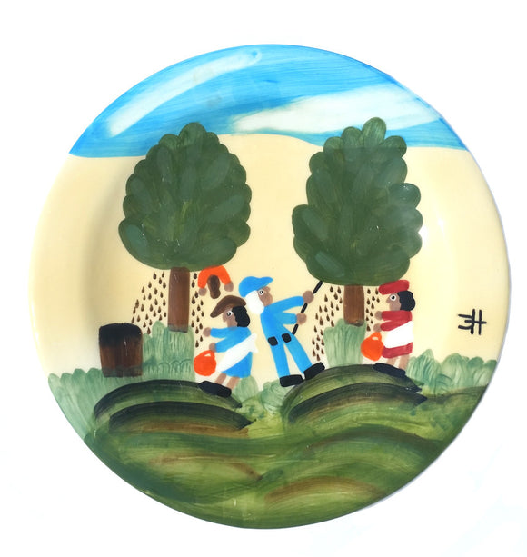 Clementine Hunter Dinner Plate - Pecan Picking