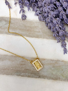 Necklace - Dainty Rectangle Pave Mary