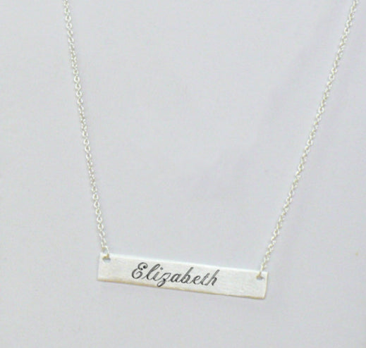 Engraved Long Bar Necklace - Silver