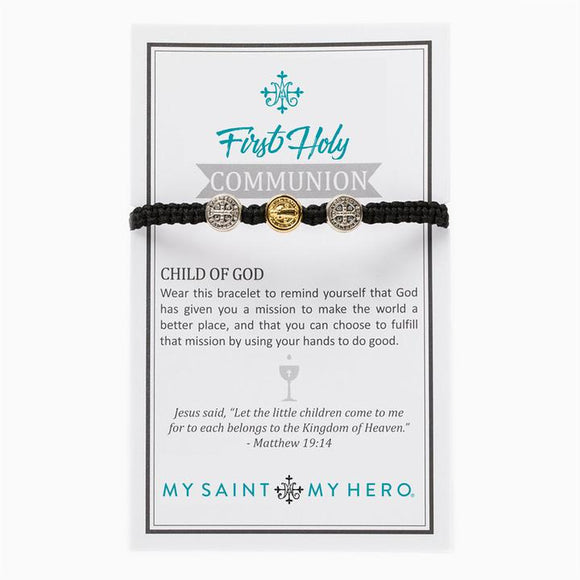 First Holy Communion Child of God Bracelet - Black