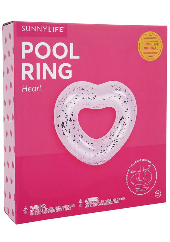 Inflatable Glitter Heart Pool Ring