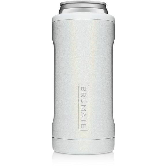 Brumate Slim Can Cooler - Glitter White