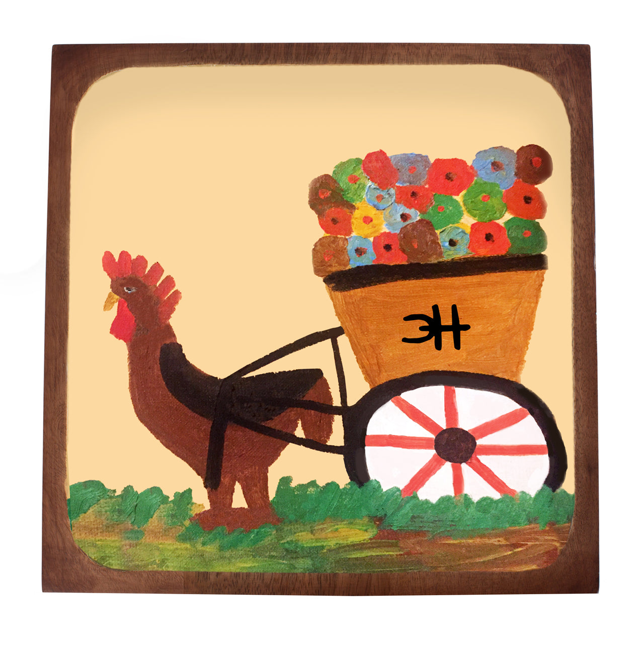 Clementine Hunter Mango Wood Serving Platter - Gooster Hauling Flowers