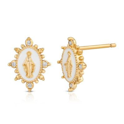 Joy Dravecky Petite Studs - Lady Lourdes in White