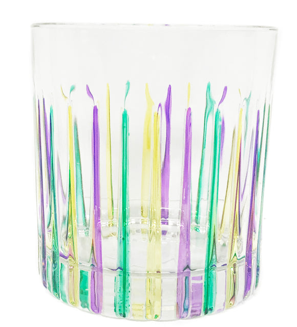 Mardi Gras Low Ball Glass