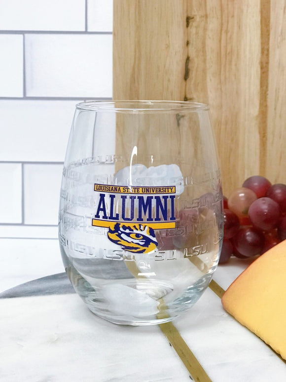 LSU Stemless Wine Glass - ALUMNI