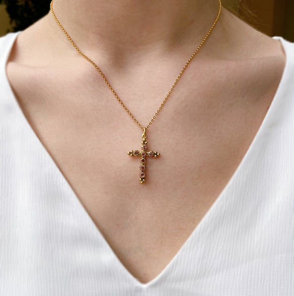 VSA Madonna Cross Necklace - Blush Rose (Gold)
