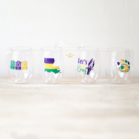 Mardi Gras Wine Glass Cups - set of 4