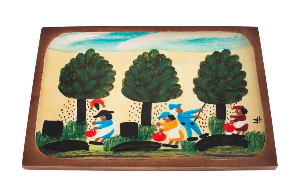 Clementine Hunter Mango Wood Serving Platter - Pecan Picking