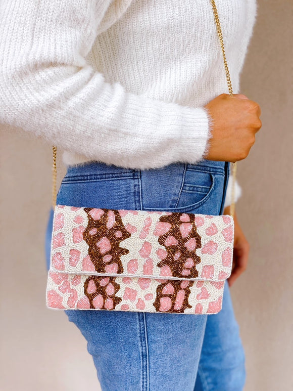 Beaded Clutch - Pink Leopard