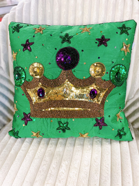 Mardi Gras Pillow - Queen Crown