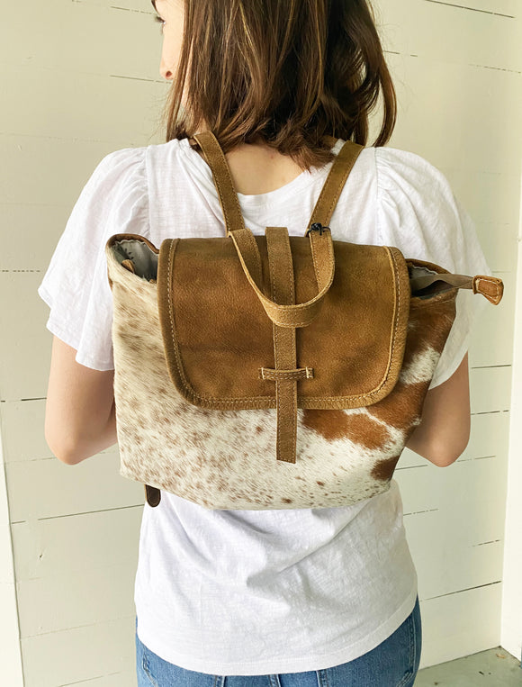 Leather Flap Cowhide Backpack Bag