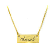 Engraved Short Bar Necklace - Gold