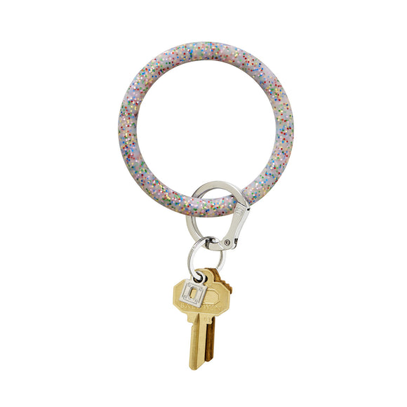 Big O Key Ring Silicone - Rainbow Confetti