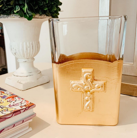 Susan Lange Gold Rectangular Vase - Cross