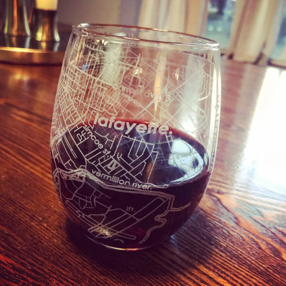 City Map Stemless Wine Glass - Lafayette, LA