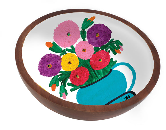 Clementine Hunter Mango Wood Large Bowl - Zinnias Looking at You