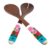 Clementine Hunter Mango Wood Serving Utensils - Zinnias Looking at You
