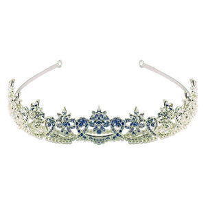 Double Pearl Row Clear Crystal Ribbon Tiara - ColourYourEyes.com