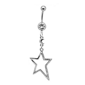 Clear Star Dangly Belly Bar - ColourYourEyes.com