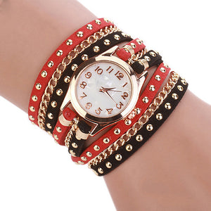 Red & Black Chain Strap Watch - ColourYourEyes.com
