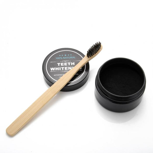 100% Natural Teeth Whitening Activated Organic Charcoal + Natural Bamboo Toothbrush (set) - ColourYourEyes.com