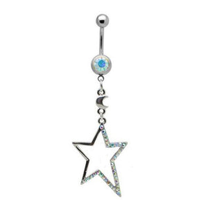 Pearl Star Dangly Belly Bar - ColourYourEyes.com