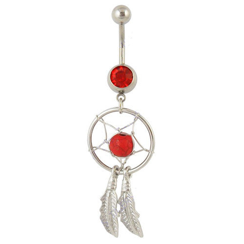 Exotic Red Dream Catcher Belly Bar - ColourYourEyes.com
