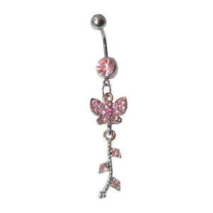 Baby Pink Crystal  Dangly Butterfly - ColourYourEyes.com