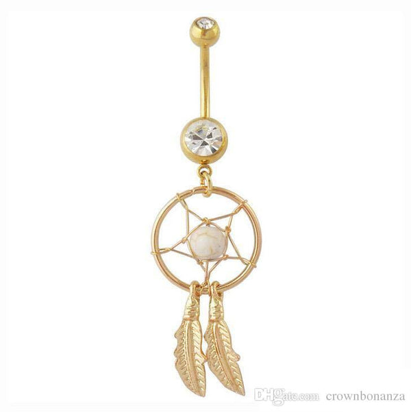Gold Dream Catcher Belly Bar - ColourYourEyes.com