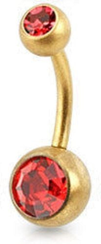 Red Double Jewelled Belly Bar - ColourYourEyes.com