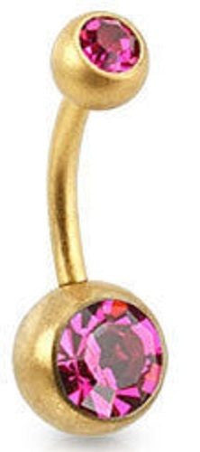 Pink Double Jewelled Belly Bar - ColourYourEyes.com