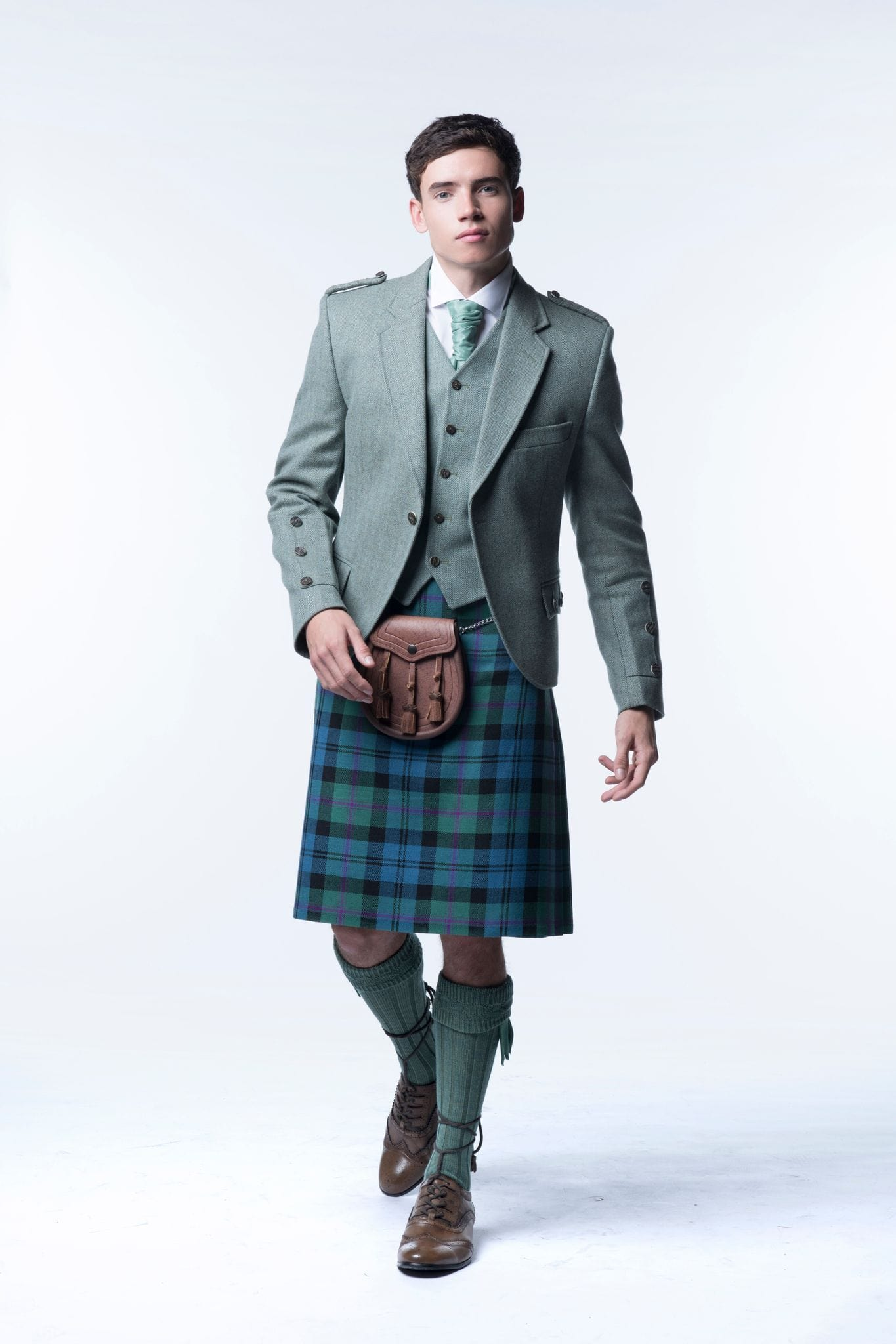macgregorandmacduff Kilt Outfit Lovat Green Tweed Package - Choose Your Tartan