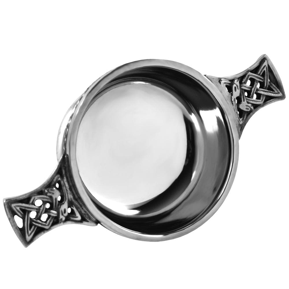 Celtic Handle Quaich with Celtic Band Design (PQ5 EP) - MacGregor and MacDuff